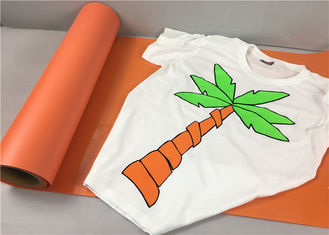 China Sticky Orange Flock Heat Transfer Vinyl 50cm*25m 27 Yards For Cutting Small Letter supplier