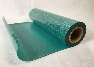 Bags Green Glitter Heat Transfer Vinyl , Laminate PVC Glitter Heat Transfer Film